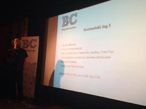 Emintente kursledare Fredrik Jönsson från Kino/Södran i Lund inleder dagen om Programsättning.